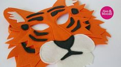 Terrance the Tiger - wool Tiger mask for pretend play, costumes, or dress up. Felt animal mask for make believe play. Felt Crafts, Fabric Crafts, Sewing Crafts, Animal Costumes, Diy Costumes, Book Costumes, Project Tiger, Aladdin Costume, Tiger Costume