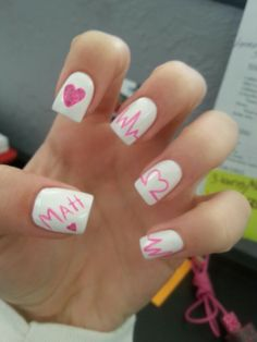 My navy nails boyfriends in the navy so did his initials and an valentines day nails with my boyfriends name prinsesfo Gallery