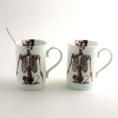 Skeleton Mug Bone China Tea or Coffee Halloween Creepy Spooky Anatomy Anatomical White Brown on Etsy, $31.12