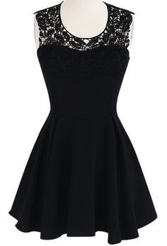 Black Sleeveless Lace Crochet Backless Flare Dress pictures