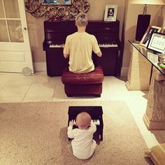 far too precious for me to handle | Tom Fletcher and his son Buzz playing piano