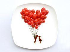 Ballon Love.  Creativity with Food : De l'art dans des assiettes