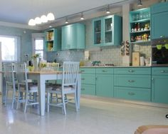 Charming Kitchen Design with Turquoise Cabinets and Tile Backsplash
