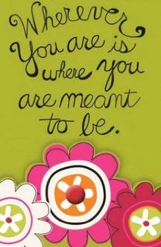 """""""Where you are meant to be"""" quote via www.Facebook.com/PositivityToolbox"""