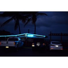 The parking lot of the Ocean Front beach bar in Jobos Puerto Rico. A warm night breeze and a cold Medalla eases the mind #beachgames #puertorico #FujiX by davidalanharvey