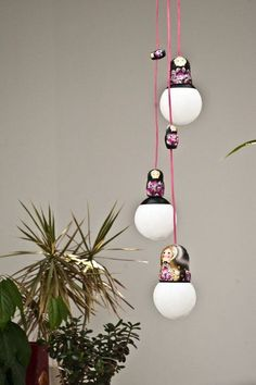 Home close up. babushka dolls & lights.