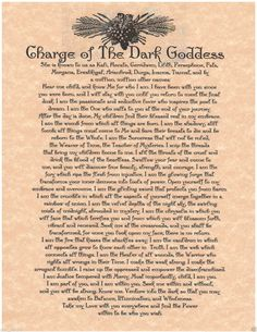 Charge to The dark Goddess
