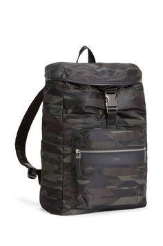 Camouflage-print nylon backpack with leather trim 102b5aeea19b7