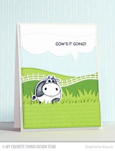 Cow's it Going? handmade card from Stephanie Klauck featuring the Grassy Fields Die-namics.