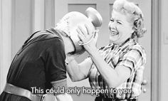 """Lucille Ball and Desi Arnaz on the set of the 1957 """"I Love Lucy"""" episode titled, """"Lucy Raises Chickens"""". Description from pinterest.com. I searched for this on bing.com/images"""