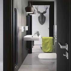 Propozycja aranżacji małej łazienki z produktami kolekcji NOVA PRO #SanitecKOŁO #KOŁO #łazienka #inspiracja #łazienki #WC #wystrójwnętrz #wystrój #mirror #lustro #interior #lavatory #minimal #interior #interiordesign #inspiration