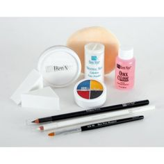"""Ben Nye Clown Makeup Kits - Deluxe Whiteface DK-1. Deluxe clown makeup kit. White kit. Includes: 1 oz Pro Series Clown White Lite, 05 oz Clown Palette (Blk/Blu/Red/Ylw), Black and White Eyeliner Pencils, 2 Latex Wedge Sponges, 3/8"""" Flat Brush, 3"""" Satin-top Powder Puff, 04 oz Neutral Set Powder, 1 oz Quick Cleanse Makeup Remover. Great for travel."""