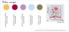 November 2016 Color Recipe #2 - Summer Sunrise, Scarlet Jewel, Plum Pudding, Spring Rain, Olive Twist
