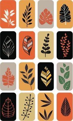 leaf icons isolation multicolored flat – Graffiti World Graphic Design Pattern, Pattern Art, Art Diy, Mid Century Art, Motif Floral, Leaf Art, Linocut Prints, Doodle Art, Screen Printing