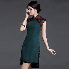 2015-short-elegant-cheongsam-Traditonal-watered-gauze-silk-dress-for-the-party-Summer-Chinese-Daily-Knee.jpg_350x350.jpg (350×350)