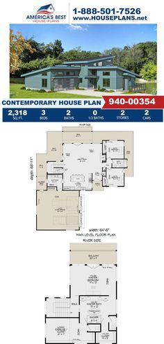 Featuring 2,318 sq. ft., Plan 940-00354 offers 3 bedrooms, 2 bathrooms, a wrap around porch, an exercise room, a mud room and a balcony. Learn more about this Contemporary design on our website today! Contemporary House Plans, Contemporary Design, Workout Rooms, Mudroom, Square Feet, Balcony, Porch, Bathrooms, Floor Plans