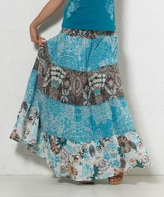 Another great find on #zulily! Aqua Floral Peasant Skirt - Women by Coline USA #zulilyfinds
