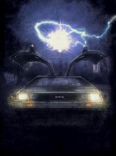 Amazing painting of Doc Brown's DeLorean Back to the Future