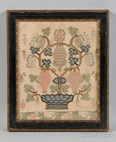 Near Pair of Needlework Pictures of Fruiting Grapevines