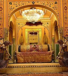 Raj Palace Hotel, home to a royal family who plays host to visitors. In Jaipur India.