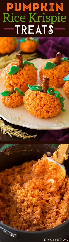 Pumpkin Rice Krispie Treats such a fun and easy fall treat! My kids loved thes Pumpkin Rice Krispie Treats such a fun and easy fall treat! My kids loved these! Source by itsyummi Fall Treats, Thanksgiving Desserts, Holiday Desserts, Holiday Baking, Holiday Treats, Fall Snacks, Halloween Desserts, Fete Halloween, Halloween Food For Party
