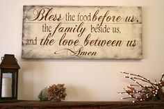 Bless The Food Before Us Wood Kitchen Sign Dining Room Sign Pallet Wood Sign Rustic Chic Kitchen Shabby Chic Kitchen Vintage Wood Decor Casas Shabby Chic, Shabby Chic Vintage, Shabby Chic Decor, Rustic Decor, Rustic Wood, Distressed Wood, Distressed Furniture, Leather Furniture, Rustic Style