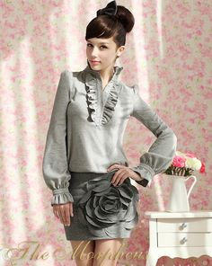 Morpheus Boutique - Grey Designer Trendy Lady Ruffle Sleeve Collar Top Blouse