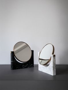 Pepe Marble Mirror, Brass, White - MENU A/S