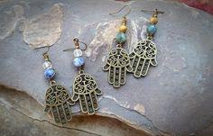 Gemstone Hamsa Earrings ~The Earth Below on Etsy