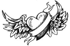 Fire Drawing, Wings Drawing, Angel Drawing, Heart Tattoo Designs, Tattoo Design Drawings, Drawing Designs, Heart Designs, Drawing Ideas, Drawing Tattoos