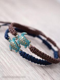 Matching couple bracelets Turtle jewelry Macrame bracelet