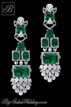 Varuna D Jani diamond and emerald earrings, these are superb!! I'd wear them doing laundry~