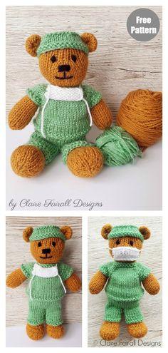 Frontline Hero Teddy Bear Free Knitting Pattern - knitting for babies Teddy Bear Patterns Free, Teddy Bear Knitting Pattern, Knitted Teddy Bear, Crochet Teddy, Crochet Bear, Knitted Nurse Doll Pattern, Crochet Toys, Crochet Birds, Knitted Dolls