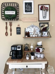 I kept the same layout for both of my fall gallery walls, and just changed out a couple of things. Some of my favorite parts of this layout were the ceramic spoon and for that my grandmother made and the Coffee Gallery, Bar Spoon, Ceramic Spoons, Coffee Corner, Cafe Restaurant, Acorn, Fall Decor, Kitchen Decor, Teal