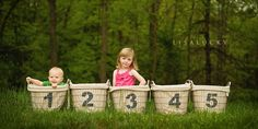 One basket for each grandkid either in birth order or numbers are for age.