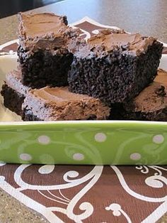 Zuchini Brownies, so freaking good!  You would never even know that there is zucchini in it!  Where they say to peel the zucchini, we didn't and it was great.