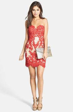 Sherri Hill Embellished Lace & Tulle Strapless Body-Con Dress | Nordstrom. Girls- if goes on sale