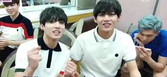 Jungkook being charming and Taehyung.... Being Taehyung. That face always has me crying. X'D