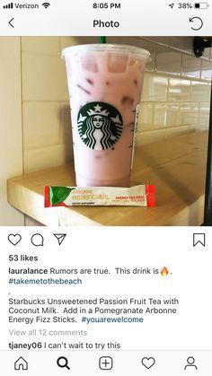Starbucks Passionfruit Tea with coconut milk and a Pomegranate Fizz Stick - Arbonne - Detox Arbonne 30 Day Cleanse, Arbonne 30 Day Challenge, Arbonne Detox, Detox Challenge, Arbonne Shake Recipes, Passion Fruit Tea, Arbonne Nutrition, Arbonne Protein, Milk Nutrition