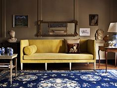 Here are the people you can trust to deliver the modern English country look. We reveal the best interior designers and decorators. Eclectic Living Room, My Living Room, Living Spaces, Yellow Interior, Best Interior, Yellow Couch, English Decor, Luxury Furniture Brands, Furniture Design