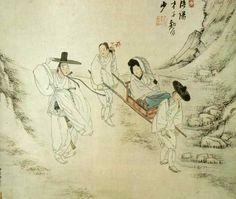 Korean Traditional art by Shin Yun-bok Korean Painting, Japanese Painting, Chinese Painting, Japanese Art, Korean Traditional, Traditional Art, Asian Artwork, Korean Art, Old Paintings