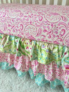 Kumari Teja, Mint, and Pink Ruffled Crib Skirt
