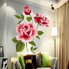 Romantic Love 3D Rose Flower Wall Sticker Home Decor Living Room Bedroom flower shop Decals Mother's Day gift //Price: $15.99 & FREE Shipping //     #interior #room #kitchen