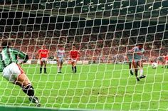 Converting a penalty in the 1990 Charity Shield at Wembley