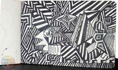 Dans ce dessin à l'encre il n'y a que des lignes droites à angle. Les Oeuvres, David, Ink Drawings, Straight Lines, Black And White Drawing, Artist