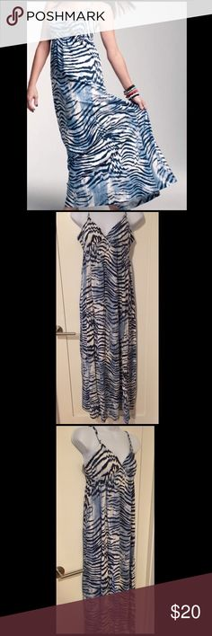 Printed Maxi Dress Blue printed maxi dress. Only worn once. I'm 5'2 and it's way too long for me Avon Dresses Maxi