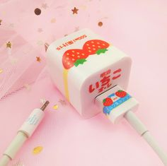 Cute Strawberry And Cartoon Charger Stickers For Iphone – Stationery 2020 Iphone Charger, Iphone Cases, Mode Kawaii, Cute Strawberry, Kawaii Room, Kawaii Accessories, Cute Japanese, Kawaii Clothes, Indie Brands