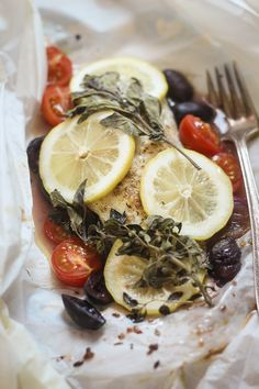 Greek Fish en Papillote - 20 minutes to a delicious and impressive dinner!