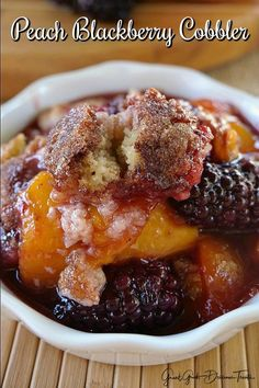 Peach Blackberry Cobbler is a perfect dessert any time of the year but especially in summer with fresh peaches and blackberries. Sweet, juicy and delicious! Blackberry Cobbler Bisquick, Blackberry Peach Cobbler, Blackberry Dessert, Fresh Peach Cobbler, Pecan Cobbler, Blackberry Recipes, Strawberry Recipes, Fruit Recipes, Sweet Recipes