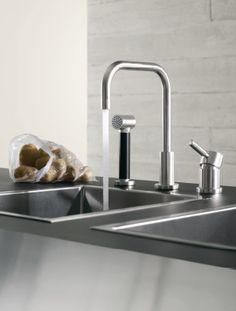 Dornbracht Meta.02 kitchen faucet Designer Kitchen Taps, Luxury Kitchen Design, Interior Design Magazine, Interior Design Studio, Kitchen Images, Kitchen Ideas, Kitchen Mixer, Kitchen Faucets, Kitchens